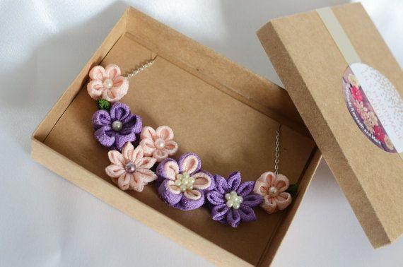 Declaración collar color de rosa púrpura collar babero