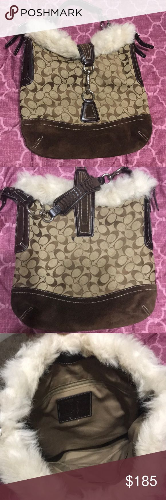 Shearling COACH Purse!! Price firm. 100%Authentic shearling fur and suede bottom purse. Only used a few times, a bit too heavy for me because of the fur and too big for my style. Have had for years but just sitting in my closet looking for it's new home! Coach Bags Shoulder Bags