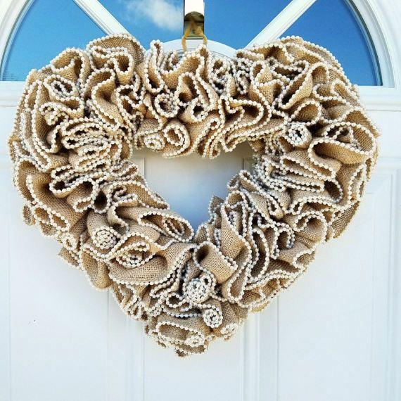 New...Heart LOVE Wreath Wedding Home Office by TheRobinsNestMI