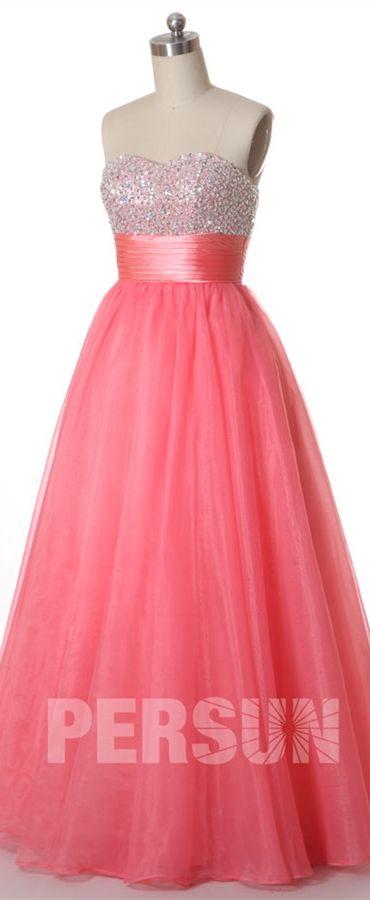 108,81 € Chic robe de soirée rose longue bustier coeur ornée de paillettes effet princesse à lacet