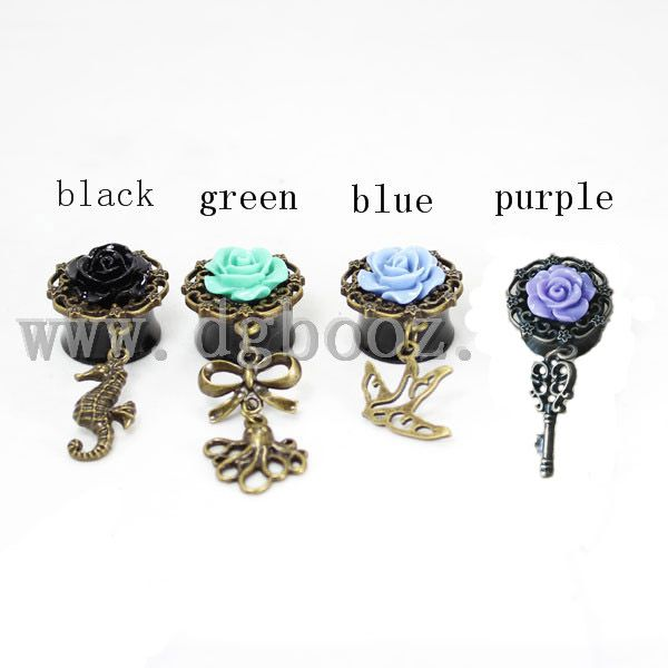 black acrylic saddle flower dangle ear plugs and tunnels piercing gauges sell by pair 6mm to 20mm