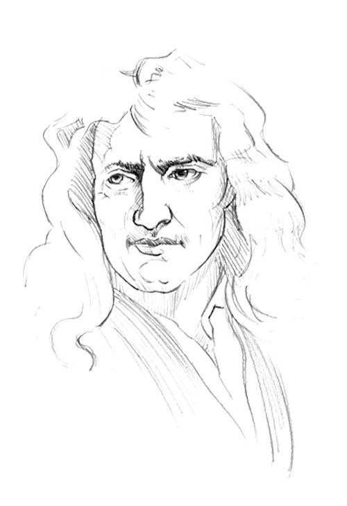 Sketch Face Isaac Newton Coloring Page For Kids Kids