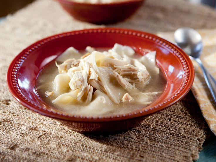 Trisha's Southern Kitchen: Lizzie's Chicken and Dumplings from FoodNetwork.com. Using a hen (older bird) is recommended.