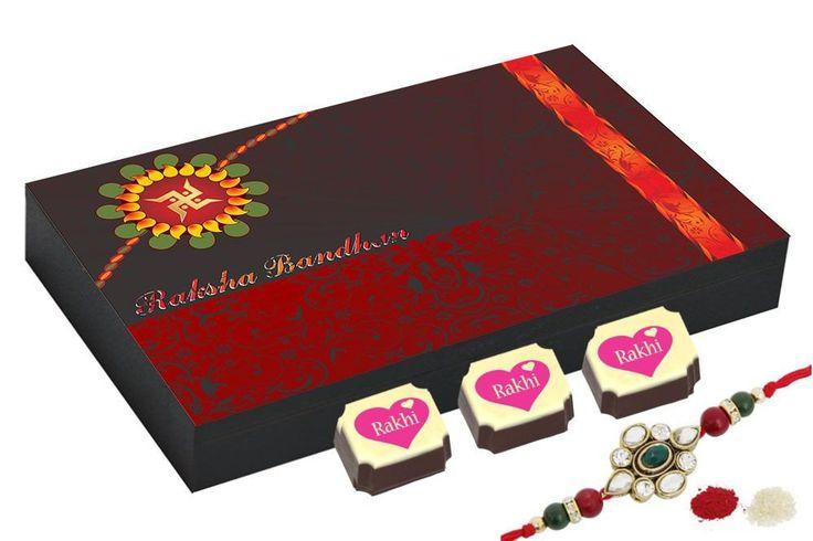 Best rakhi gift - 12 Chocolate Gift Box - Rakhi Gift to brother with Rakhi