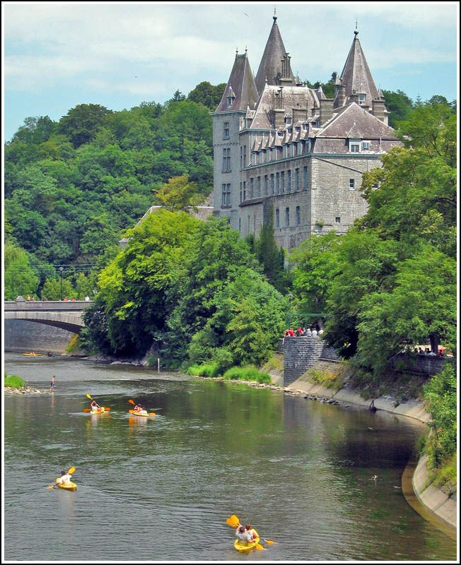 Canoeing in Durbuy, Province of Luxembourg, the Ardennes Region, Belgium. #Castle of Durbuy.