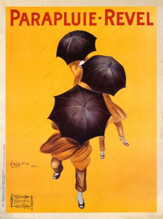 The Parapluie-Revel brand of umbrellas was created in 1900 for sales in France. In 1922, Cappiello designed the famous poster featuring three umbrellas.