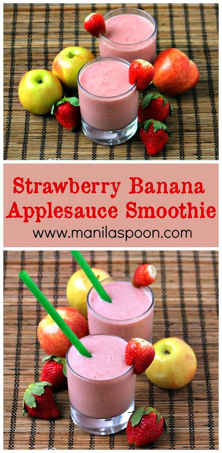 Deliciously refreshing, all natural and so good for you, too - Strawberry Banana and Applesauce Smoothie