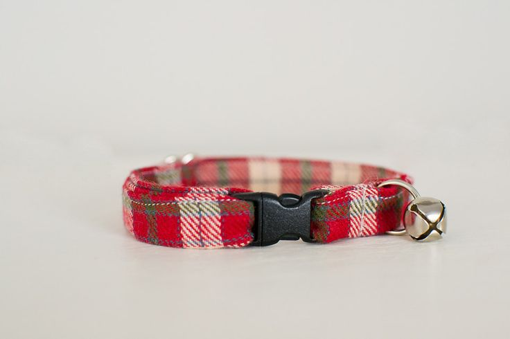 Cat Collar-Plaid Cat Collar-Christmas Cat Collar-Flannel Plaid Cat Collar-Red Plaid Cat Collar-Breakaway Cat Collar-Designer Cat Collar by SLWdesignsCo on Etsy