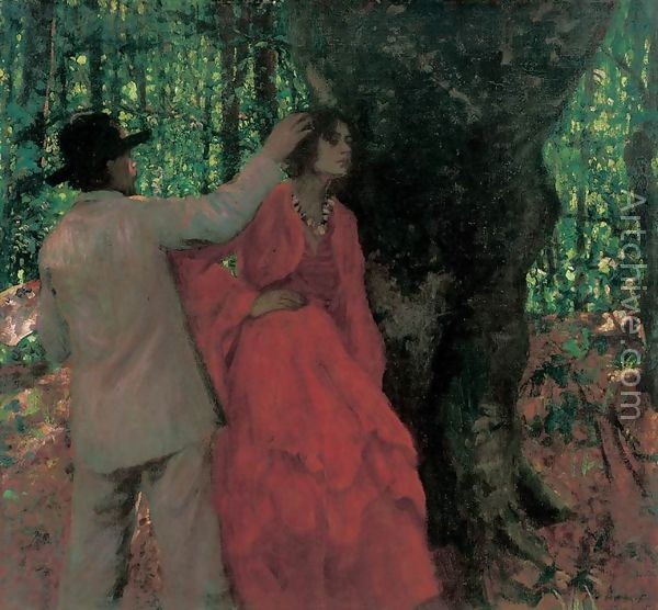 """""""Painter and model in the woods (1904)"""", Karoly Ferenczy; Hungarian National Gallery, Budapest"""