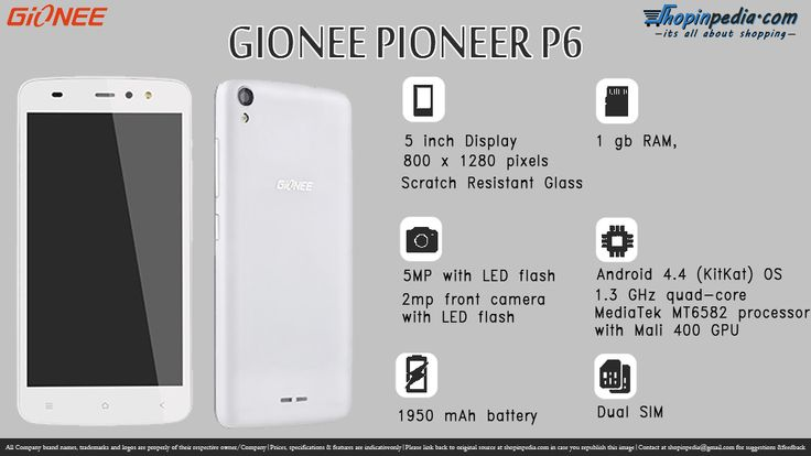 Gionee Pioneer P6 Specifications - Infographics– Infographics @ Shopinpedia