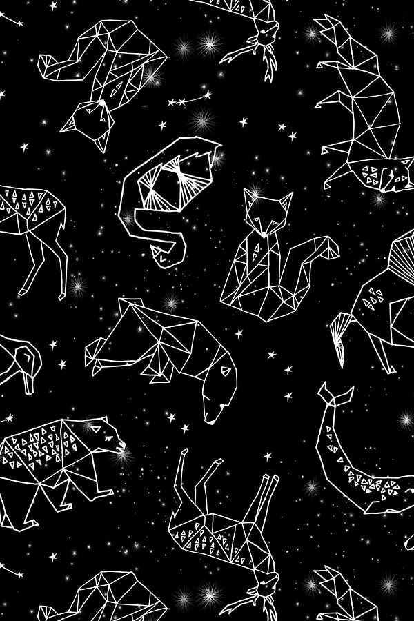 constellations // black and white by Andrea Lauren - Bold black and white constellation pattern on fabric, wallpaper, and gift wrap.
