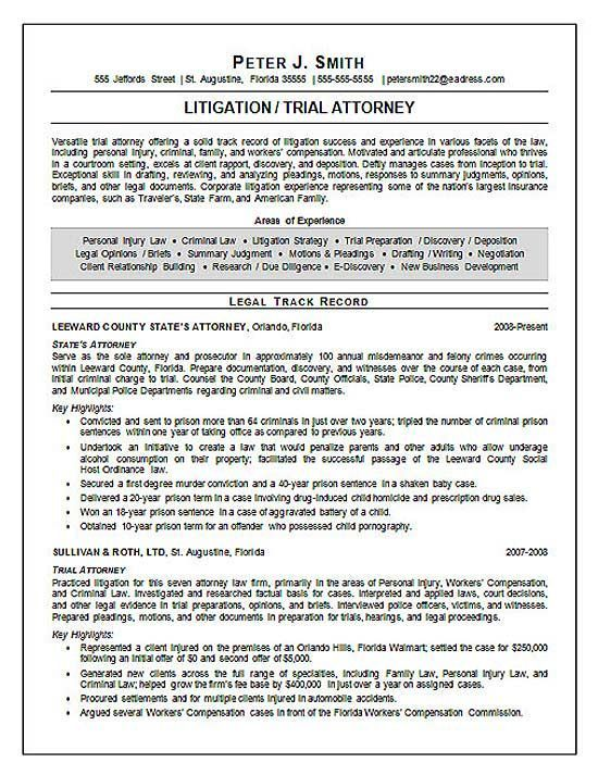 juris doctor resume | Trial Attorney Resume Example – Page 1