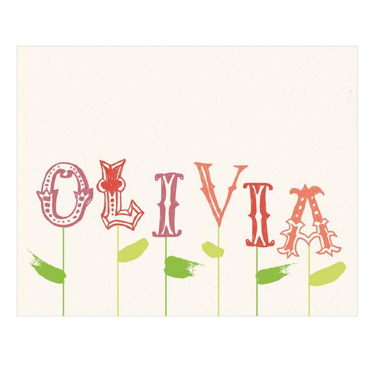 Name Blossoms - whimsical personalized custom name print nursery baby girl wall art. $20.00, via Etsy.