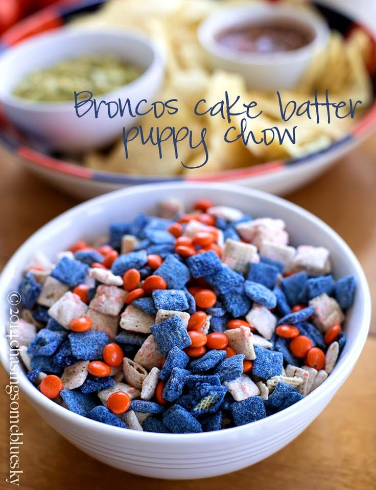 Super Bowl Treat~ Broncos Cake Batter Puppy Chow