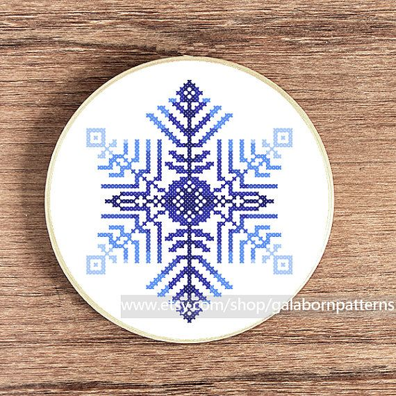 PDF counted cross stitch pattern - Snowflake - Winter - Modern cross stitch on Etsy, $4.75 CAD