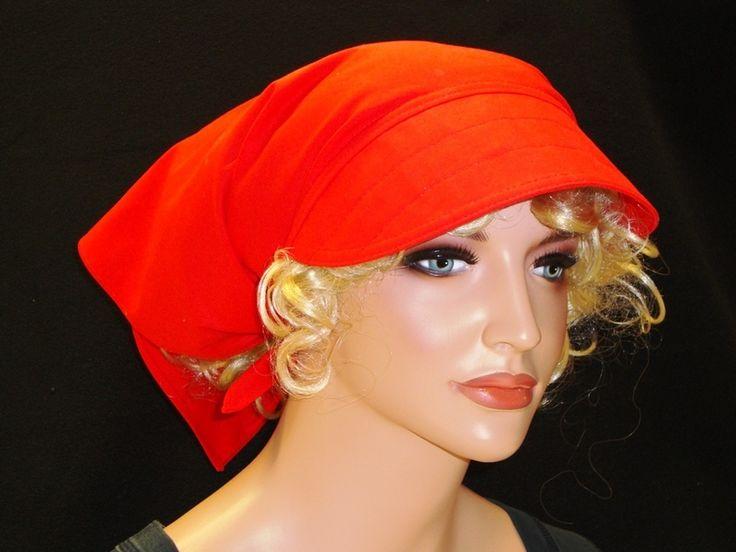 Kopftücher - Kopftuch Rot mit Schild - ein Designerstück von MODEATELIER-HILDEGARD bei DaWanda