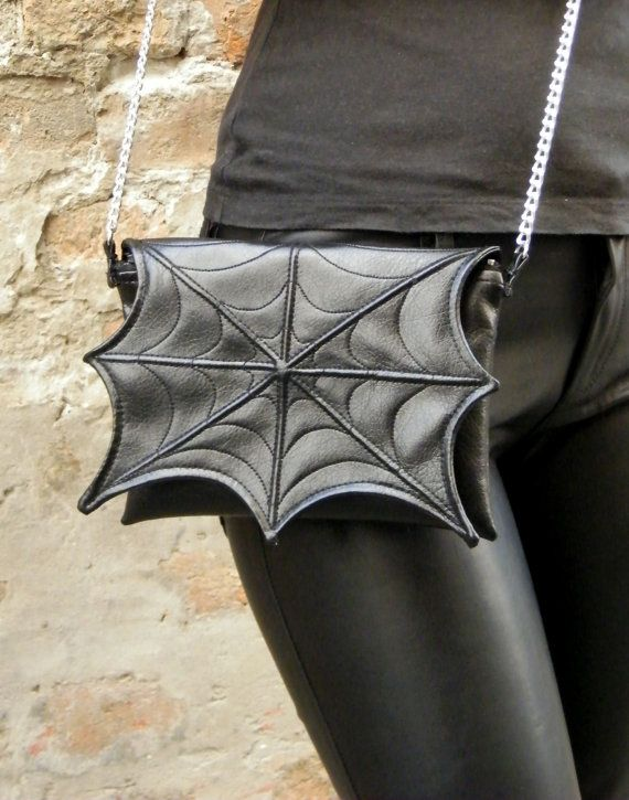 Black spider web bag with chain strap Black Faux by FiMachine