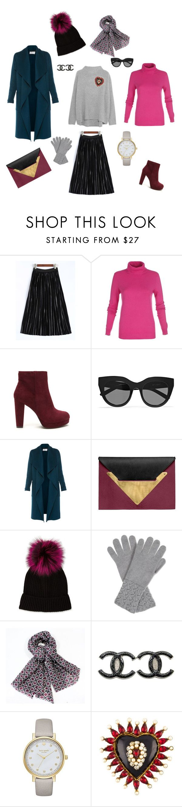 """Лук №2 (серый свитер)"" by madlily86 on Polyvore featuring мода, Vince, Le Specs, L.K.Bennett, Dareen Hakim, Neiman Marcus, Johnstons, Chanel и Kate Spade"