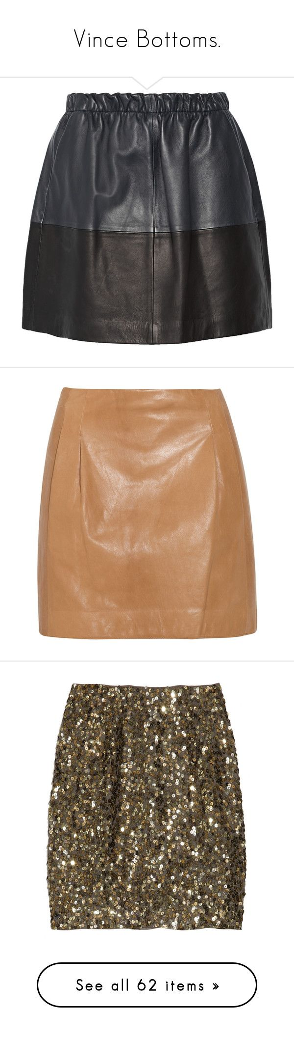 """Vince Bottoms."" by that-drumming-noise ❤ liked on Polyvore featuring skirts, mini skirts, storm blue, leather skirt, real leather skirt, genuine leather skirt, leather mini skirt, leather miniskirt, bottoms and saias"