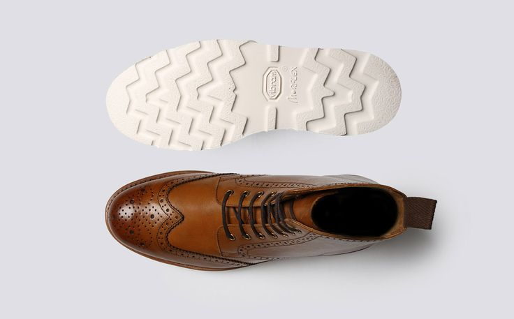 Womens Brogue Boot in Tan Calf Leather with a White Wedge Sole | Emma | Grenson Shoes - Top