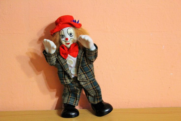 Porcelain Clown Doll, Ceramic Clown Figurine, Red Hat Clown Collectible Vintage by Grandchildattic on Etsy