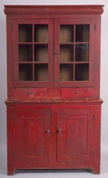 Painted glazed top - part poplar cupboard ~ Mid 19th century