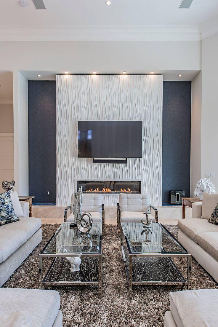 Glass coffee table  Stylish living room, Family room design