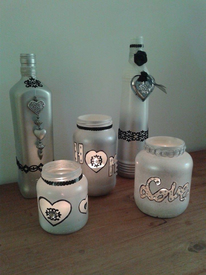 flessen versieren met gesso