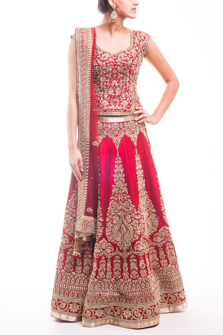 Traditional Deep Red Bridal Lehenga wow - Visit us for all type of dress designing couture, custom made Whatsapp +917696747289 https://www.facebook.com/punjabisboutique email: nivetasfashion@gmail.com pinterest : @nivetas design studio