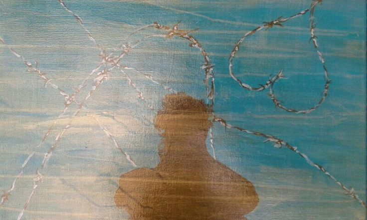 DMZ (DE MILITARIZED ZONE) 59,50cmX39,50cm  Acrylic on canvas   Life is like barbed wire. The only way out is through keeping your heart open and holding on to love. This is what I pictured when I saw my shadow in the demilitarized zone in Korea.