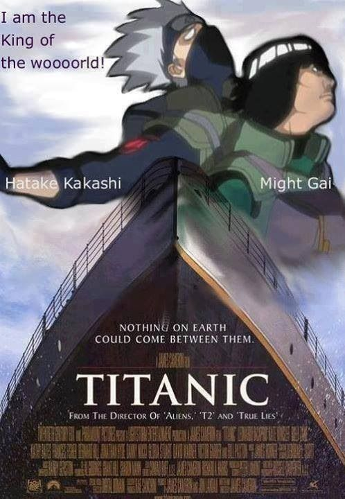The Titanic featuring Kakashi and Might Gai. #naruto