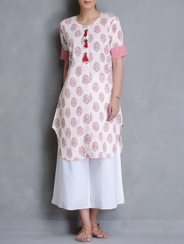 Buy Ivory Block Printed Dobby Wooden Button Detailed Cotton Kurta Women Kurtas Online at Jaypore.com