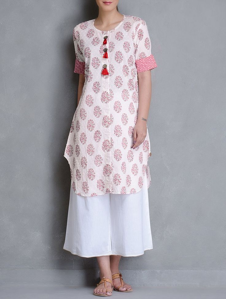 Buy Ivory Block Printed Dobby Wooden Button Detailed Cotton Kurta Women Kurtas Online at Jaypore.com