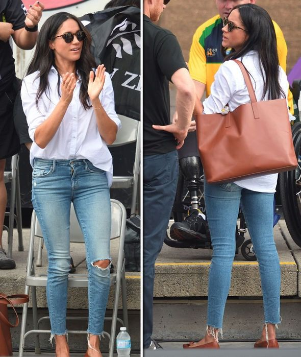Meghan Markle | oversized white button down shirt,…