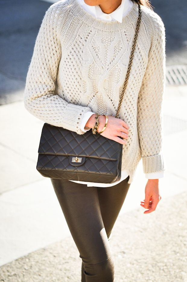 chanel bag and knit