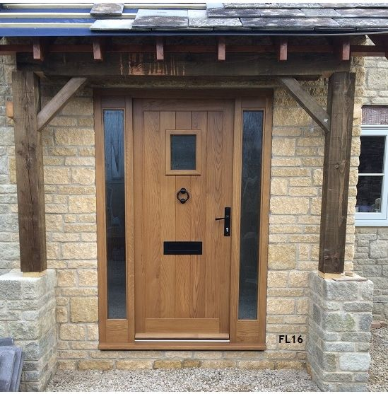 oak cottage door with side panels