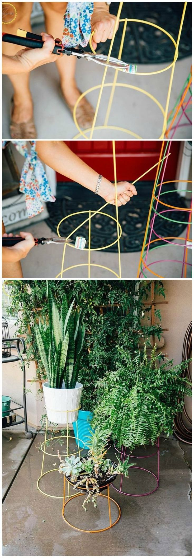 These DIY modern plant stands a quickie little project that will give your  patio or interiors