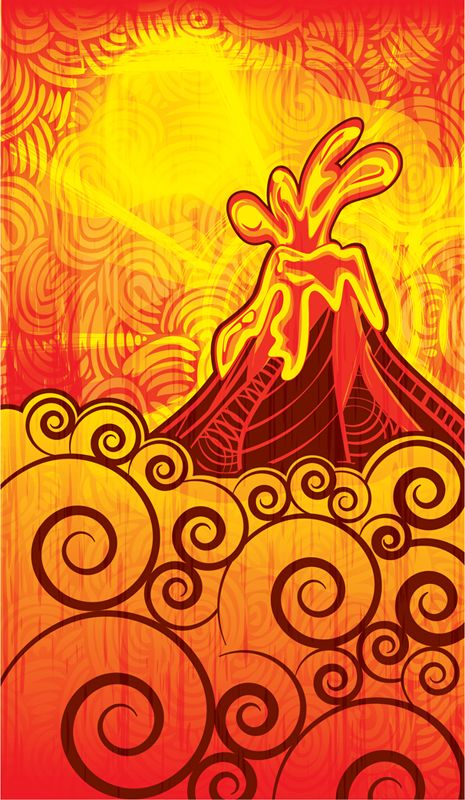Volcanic Rupture by Margaret Perez (Surf, Beach & Summer Illustrations, Print & Pattern)  See more at www.margaretperez.com #margaretperez #illustrations #printpattern #graphic #beach #summer #tropical #volcano #fashion #red #orange #lava #hot #waves