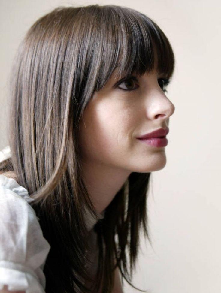 Long straight hairstyles with bangs