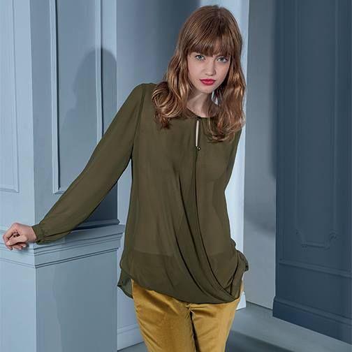 Khaki long sheer loose top #NaraCamicie #Nara #Collection #Winter #Autumn #Elegant #Fashion #Clothes #Style #Class