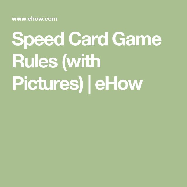 Speed Card Game Rules (with Pictures) | eHow