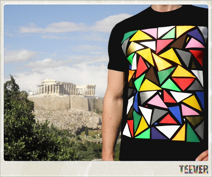 Cotton Black T-Shirt Design : Triangles