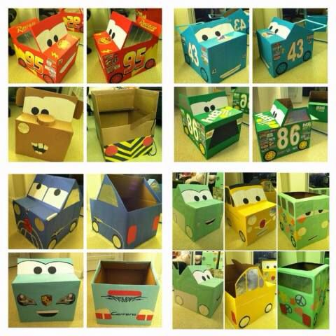 Disney cars themed cardboard box craft for toddler boys, birthday party ideas