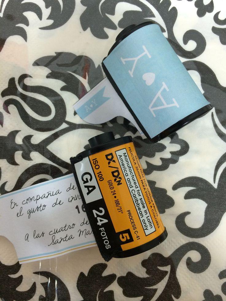Tarjetas de invitación en rollo de fotografía · tarjetas personalizadas