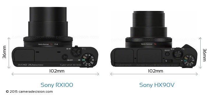 Sony Rx100 Vs Sony Hx90v Camera Size Comparison Top View