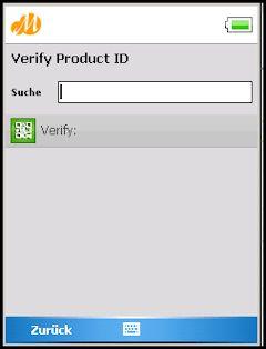 Screenshot de ejemplo de verificación de ID de producto desde un dispositivo móvil en SAP Track & Trace construido con la mobile enterprise application platform Movilizer.