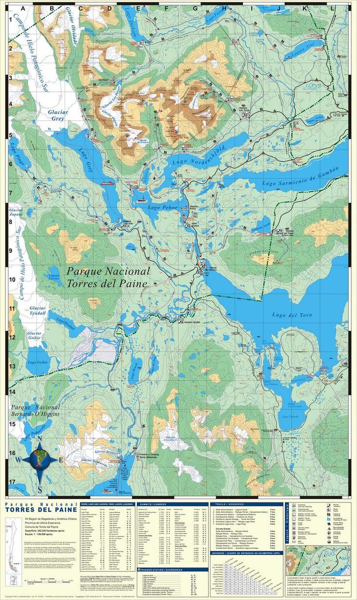 turismo yamana: Mapa Parque Nacional Torres del Paine Map