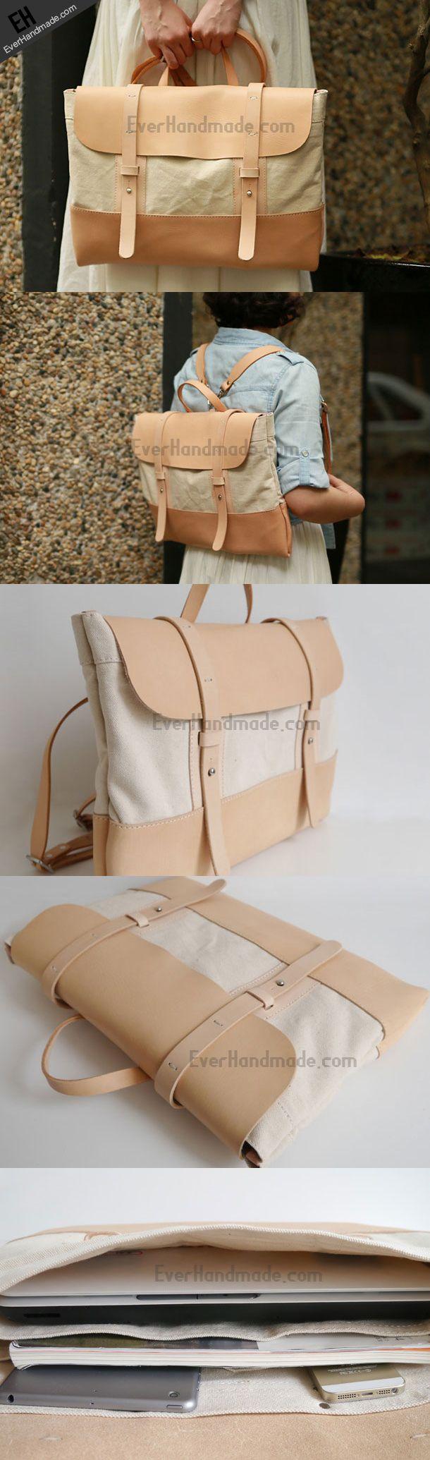 Handmade Leather messenger bag backpack canvas for
