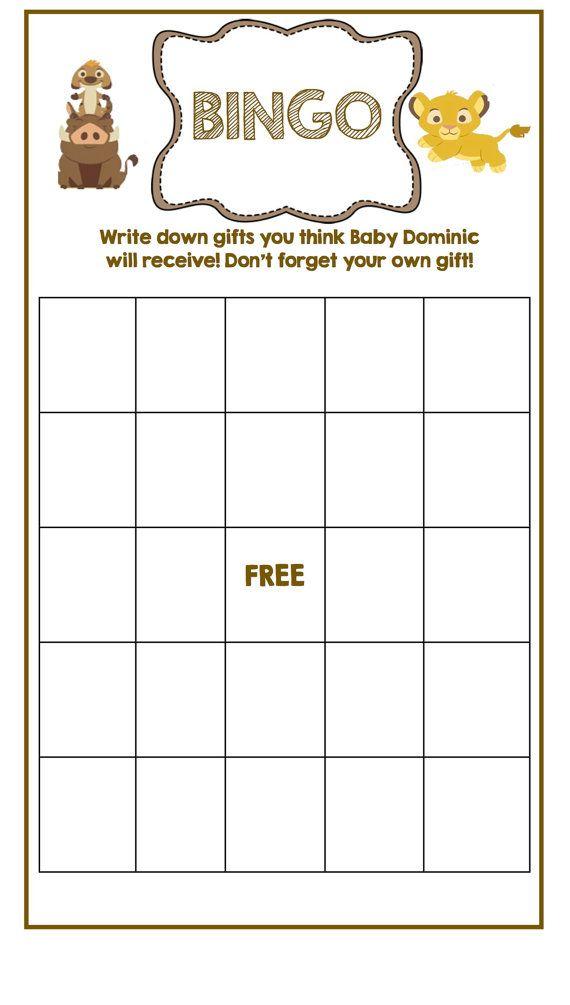 Lion King Baby Shower Bingo Card by HappyDotCreatives on Etsy, $5.00