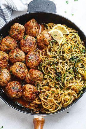 Garlic Butter Turkey Meatballs with Lemon Zucchini Noodles